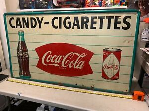 """HUGE 55"""" Rare VINTAGE COCA COLA SIGN 50s? 60s? COCA COLA FISH TAIL SIGN Can"""
