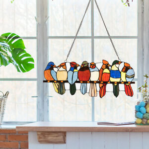 22 5 Stained Glass Birds Window Panel Tiffany Style Indoor Sun Catcher W Chain