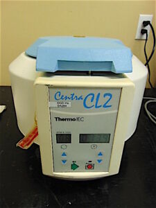 Thermo Iec Centra Cl2 Centrifuge With 12 Slot Rotor powers Up And Spins Sr384x
