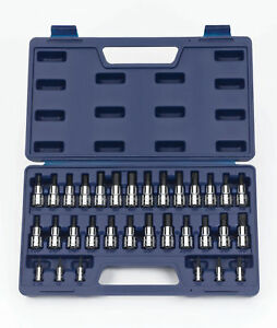 32pcs 1 4 3 8 Drive Bit Set Torx Screwdriver Sae Metric Hex Socket Bits