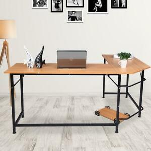 L shape Corner Computer Desk Pc Glass Laptop Table Workstation Home Office Black