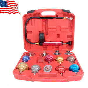 14pcs Radiator Cooling System Pressure Tester Gasket Water Tank Leak Adapter Kit