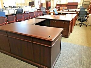 Executive U shape Desk By Kimball Office Furniture In Cherry Finish Wood