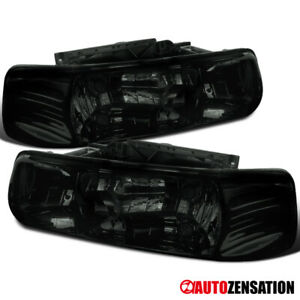 For 1999 2002 Chevy Silverado 2000 2006 Tahoe Suburban Smoke Headlights Lamps