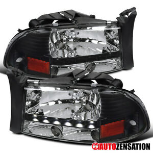 For Dodge 1997 2004 Dakota 1998 2003 Durango Smd Drl Black Clear Headlights Lamp