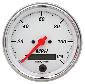 Auto Meter 1380 Arctic White Speedometer Gauge 3 3 8 Electric Programmable