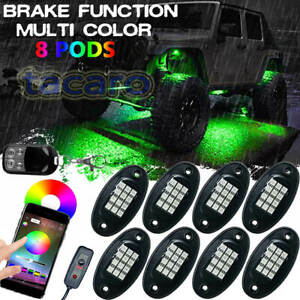 8 Pod Rgb Led Rock Light Under Bluetooth Car Off Road Truck For Jeep Wrangler