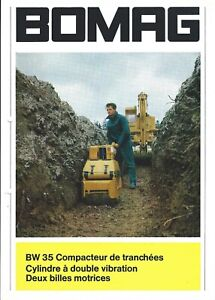 Equipment Data Sheet Bomag Bw 35 Trench Compactor C1966 Brochure French e5627