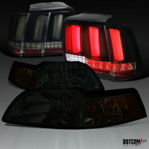 For 1999 2004 Ford Mustang Smoke Headlight glossy Black Sequential Led Tail Lamp