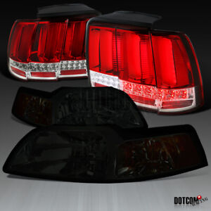 For 1999 2004 Ford Mustang Smoke Lens Headlight red Sequential Led Bar Tail Lamp