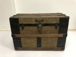 Vintage Wood Steamer Trunk Chest Coffee Table Storage Box Luggage Antique Loft 8