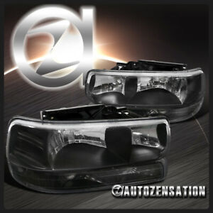 For 1999 2002 Chevy Silverado 2000 2006 Tahoe Black Headlights bumper Lights