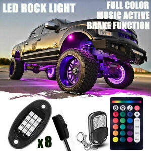 8x Remote Led Po D Underglow Neon Rock Light Kit For Jeep Off Road Truck Car