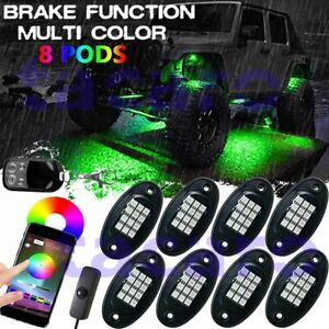 8 Pod Rgb Led Rock Light Offroad Wireless Bluetooth Music Controller For Dodge