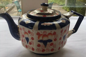 Imari Teapot Antique Vintage English Tea Pot Red Blue Gold Made In England