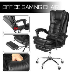Executive Office Chair Gaming Racing Leather Recliner Swivel Desk W Footrest Us