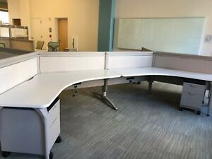 Lot Of 3 120 44 h Cubicle Unit By Teknion In Beige