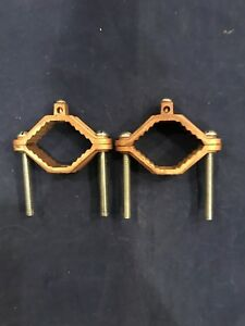 Two Bronze 1314 Grounding Clamps 2 To 3 New Electrical Fitting