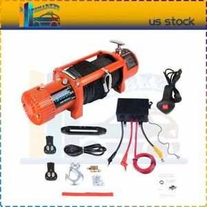 12v 13000lbs Electric Winch 86 Synthetic Rope Towing Truck Trailer Brand New