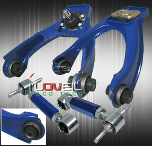 For 96 00 Honda Civic Ek Adjustable Front Upper Rear Adjustable Camber Kit Blue