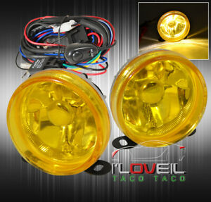 Universal 3 5 Jdm Vip Bumper Drive Fog Lights Lamps Assembly Yellow Lens Wiring