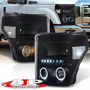 Black Clear Halo Led Projector Head Lights For 2011 2016 F250 F350 Super Duty