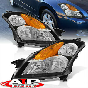 For 2007 2009 Nissan Altima 4dr Black Amber Signal Clear Lens Headlights Lamps
