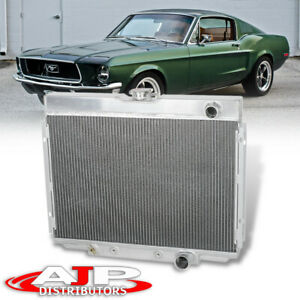 Tri Core 3 Row High Performance Aluminum Radiator For 67 70 Ford Mustang V8 M T