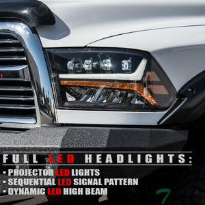 Topline For 2009 2018 Dodge Ram Full Led Sequential Projector Headlights Black