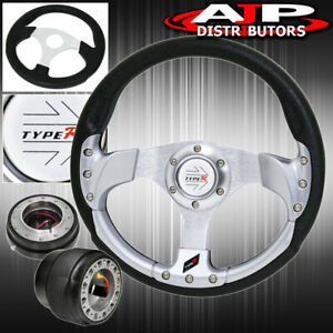 Black Quick Release For 94 01 Integra 320mm Silver Fusion Style Steering Wheel