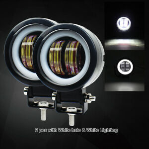 New 2x Car Motorcycle Off Road Driving Work Round Led Spot Lights Fog Lamp 6500k