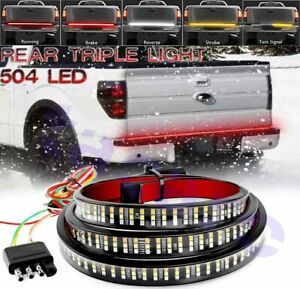60 Triple Row 504 Led Strip Tailgate Light Bar Reverse Drl Brake Car Truck Lamp