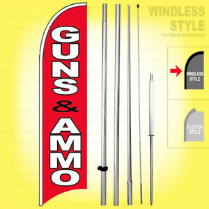 Guns Ammo Windless Swooper Flag Kit 15 Feather Banner Sign Rb h