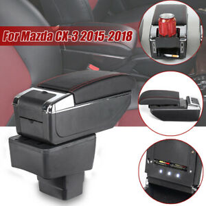 Car Armrest Center Console Storage Box Leather Rotatable Tray For Mazda Cx 3
