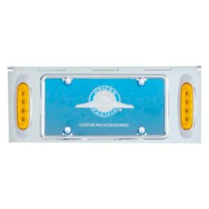 United Pacific License Plate Holder W 8 Amber Led Reflector Lights