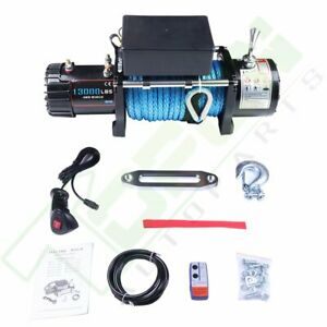 12v Off Road Electric Winch 13000lbs W 85ft Synthetic Cable For Jeep Truck Suv