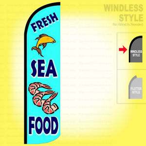 Fresh Seafood Windless Swooper Flag 2 5x11 5 Ft Feather Banner Sign Bz