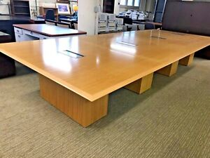 16 w Boardroom Conference Table By Geiger Office Furniture In Maple Finish Wood