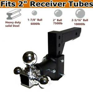 Three Ball Swivel Adjustable Trailer Tow Drop Hitch Ball Mount 2 Receiver Us