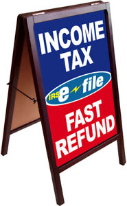 Income Tax E file Fast Refund A frame Sign Sidewalk Sign Double Sided 172875