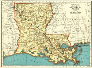1942 Antique Map Of Louisiana Vintage Louisiana State Map Gift Wall Art 7323