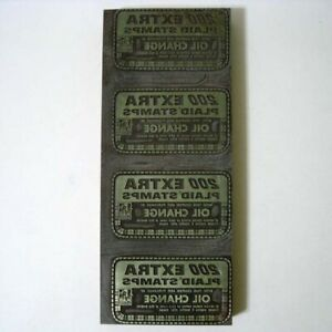 Antique Letterpress Print Printing Block 200 Extra Plaid Stamps Oil Coupn