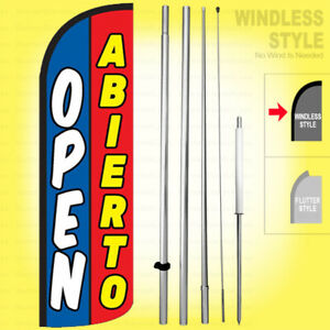 Open Abierto Windless Swooper Flag Kit 15 Feather Banner Sign Bq h
