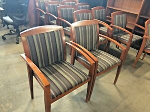 Guest side Chair By Haworth Office Furniture W Cherry Wood Frame