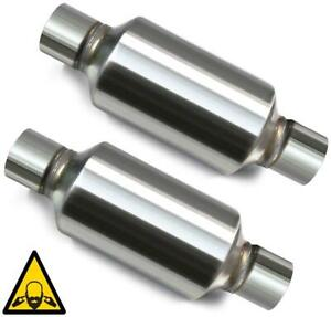 Pair Of Two Single Chamber Universal Race Round Mufflers 2 25