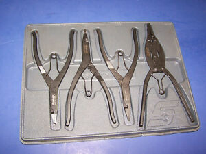 Snap on Tools 4 Piece Transmission Snap Ring Pliers Set Srp400 Super Nice