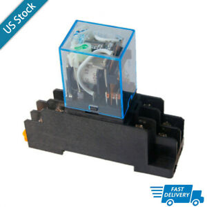 Coil Power Relay With Base Ly2nj Ly2n j 8pin 2no 2nc Led Lamp Dc12v 10a Dpdt Us