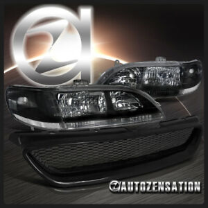 Fit 98 02 Honda Accord 2dr Coupe Black Headlights Abs Type Mesh Hood Grille R