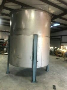 3400 Gallon Open Top Stainless Steel Mixing Tank Dish W 3 Inch Bottom Cntr Drain