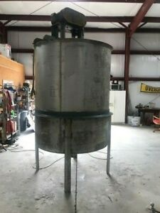 800 Gallon Stainless Steel Mixing Tank 3 Hp Reliance W Gear Box Cone Bottom